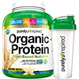 Purely Inspired Organic Protein Shake Powder + Shaker Bottle, 100% Plant Based with Pea & Brown Rice Protein (Non-GMO…