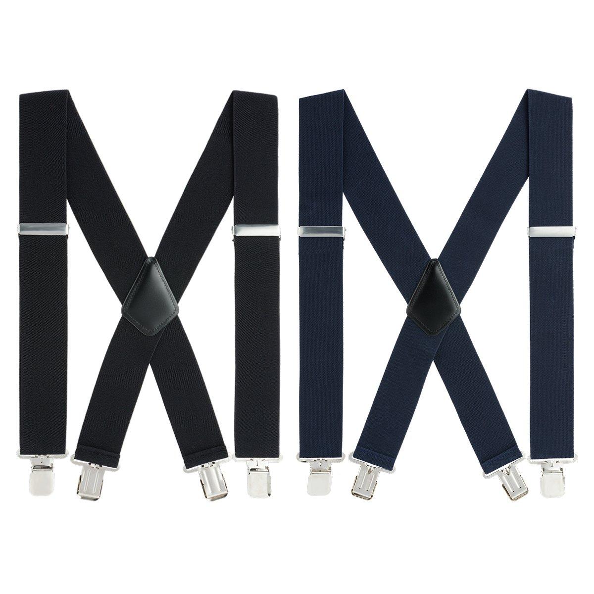 Mens X-Back Heavy Duty Work Suspenders 2pc Adjustable Elastic Clip Suspenders (Black/Navy Blue) One Size by GradeCode (Image #1)