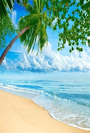 AOFOTO 5x7ft Beach Photography Studio Backdrop Sea Waves Background Island  Palmtree Seaside Vacation Blue Sky Cloud Adult Kid Girl Boy Artistic