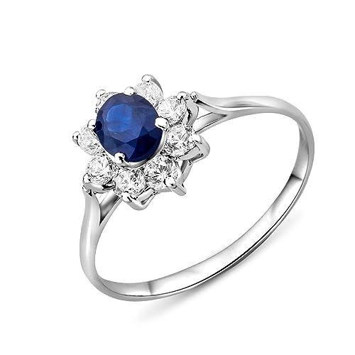 Miore Damen-Ring 375 Weißgold 9 Karat 1 blauer Safir und Zirkonia MA950ZR