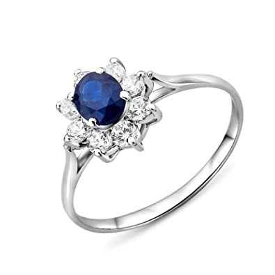 Miore Sapphire Ring, 9ct White Gold, Diamond Setting, SH019RM