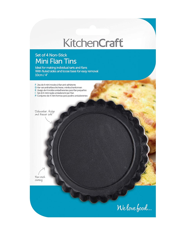 Amazon.com: 10cm Set Of 4 Non-stick Mini Fluted Flan Tart Tins: Tart Pans: Kitchen & Dining