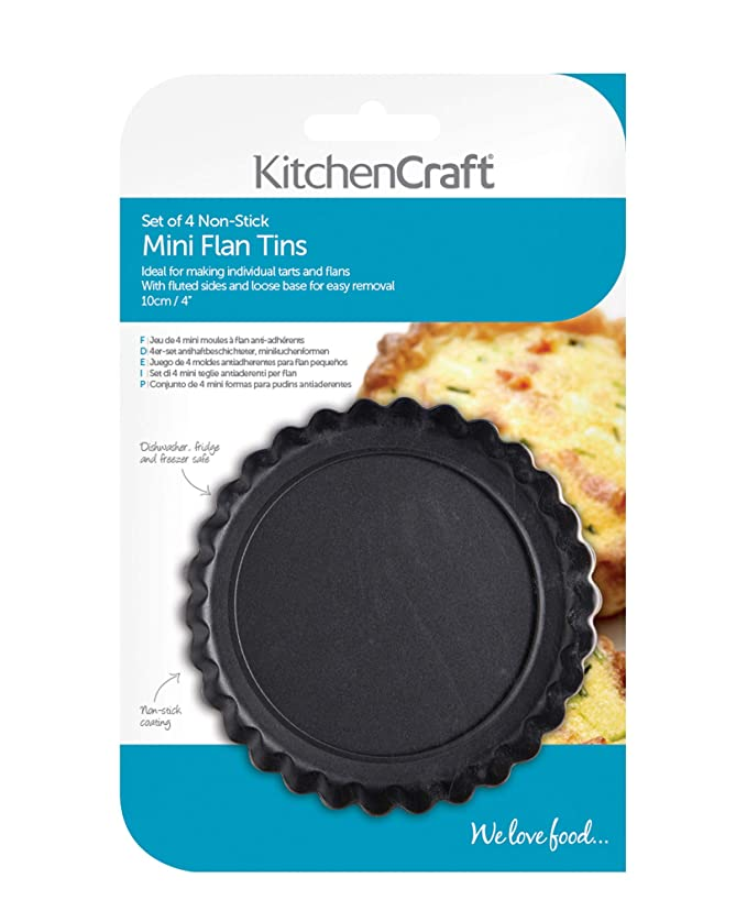 Amazon.com: 10cm Set Of 4 Non-stick Mini Fluted Flan Tart Tins: Tart Pans: Kitchen & Dining