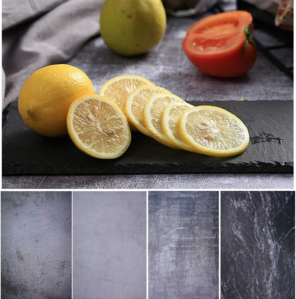 Bcolor Food Photography Backdrop 2 Pack 27x39Inch/ 70x100cm Concrete Photo Background Paper Black Double Sided for Table Top Pictures Flat Lay Props