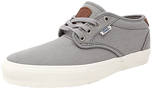 Vans Men's Chima Estate Pro Herringbone Light Grey Ankle-High Canvas  Skateboarding Shoe - 7.5