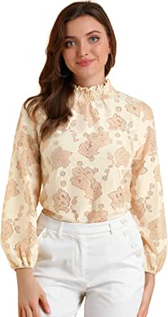 Allegra K Women's Long Sleeve Lace Tops Sheer Turtleneck Vintage Blouses Shirts