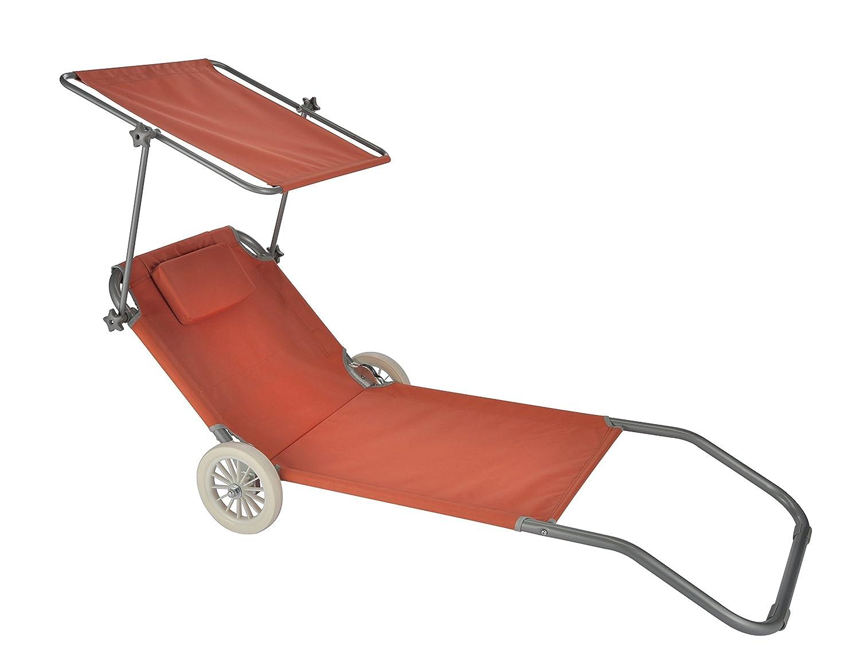 Liege Sonnenliege Mit 2 Rollen Terracotta Strandliege Radern Und Sonnendach Sonnenschutz Dach Rot Orange PREMIUM Relaxliege Gartenliege Extrem