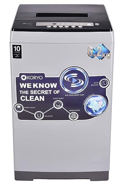 Koryo 6.2 kg Fully-Automatic Top Load Washing Machine (KWM6218TL, Silver) Washing Machines & Dryers at amazon