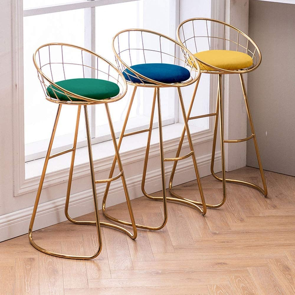 YUMUO barkruk Soft Seat kruk met hoge rugleuning Moderne metalen Breakfast Chairs voor de Home Kitchen Salon J1129 (kleur: Grijs, Maat: Hoogte 75 cm) 1