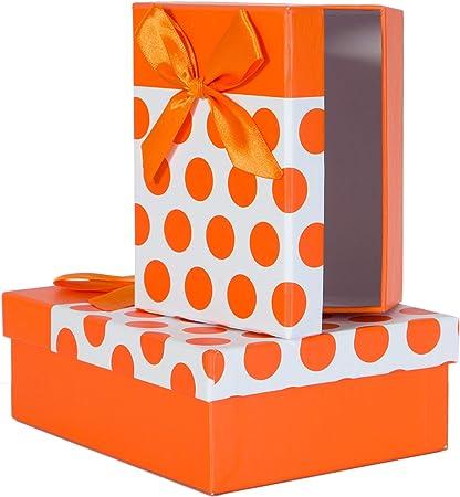 2 piezas. Caja de cartón de regalo, puntos de colores con cinta de regalo, color naranja: Amazon.es: Oficina y papelería