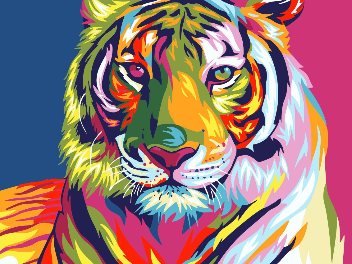 "iCoostor Wooden Framed Paint by Numbers DIY Acrylic Painting Kit for Kids & Adults Beginner – 16"" x 20"" Framed Colorful Tiger Pattern with 3 Brushes & Bright Colors…"