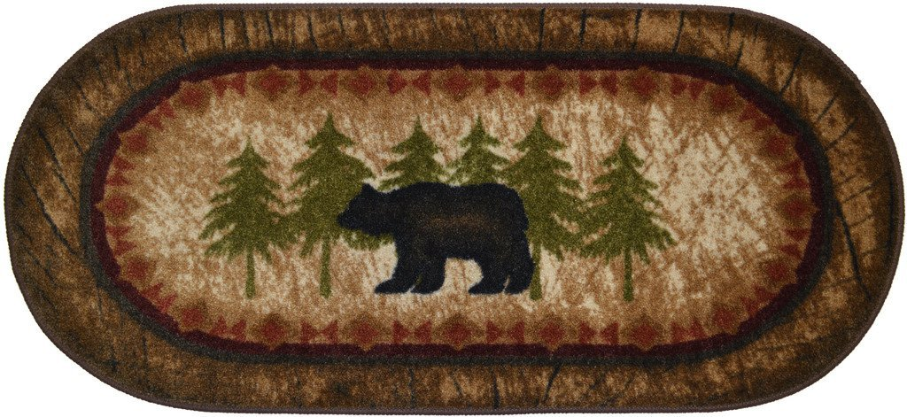 Cozy Cabin CC5276 Birch Bear Non Skid Rug 20''x44'' Wedge Brown
