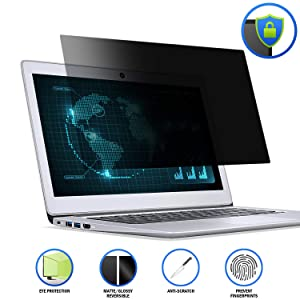 15.6 Laptop Privacy ScreenFilter, Anti-Glare/Anti Scratch Laptop Screen Protector for Widescreen Laptops Display 16:9