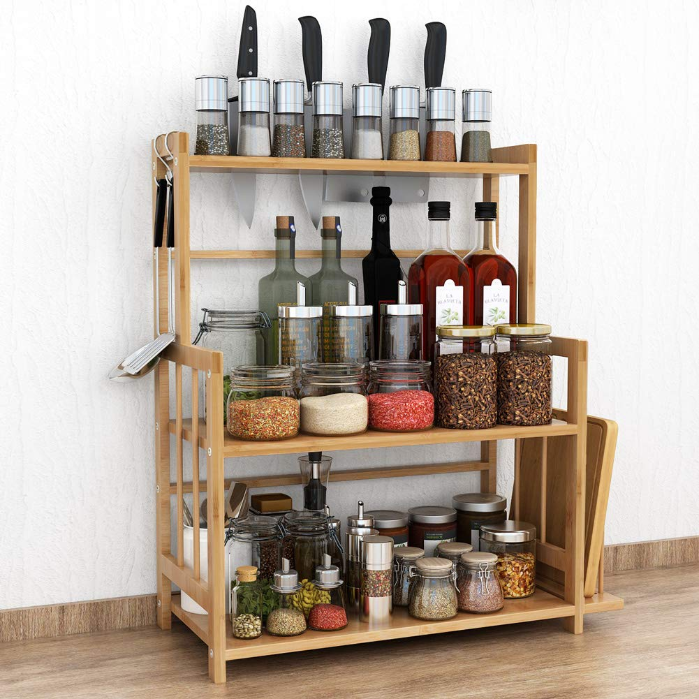 Tribesigns 3-Tier Standing Spice Rack Kitchen Bathroom Countertop Storage Organizer with Knife Holder & Chopping Board Rack, Bamboo Spice Bottle Jars Rack Holder with Adjustable Shelf by Tribesigns