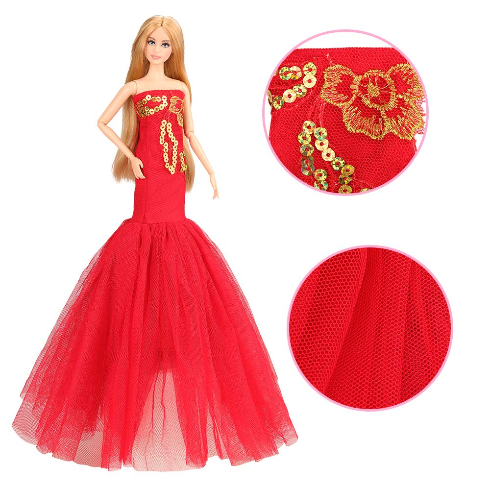 BARWA 2 Pcs Doll Dress Red Gown Dress with
