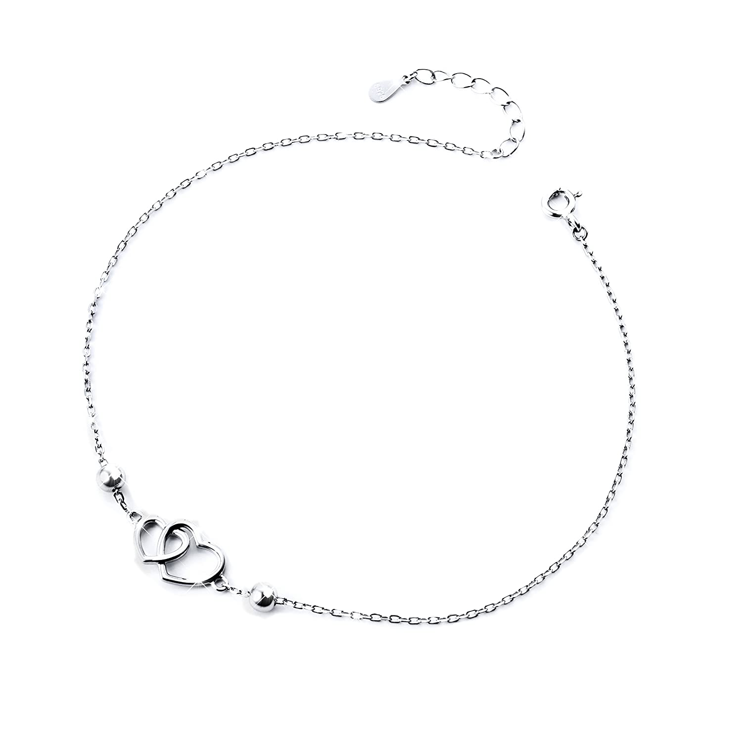 S925 Sterling Silver Anklet for Women Girl Adjustable Beach Style Foot Ankle Bracelet Jewelry Harmonyball Jewelry G10BNL1706002