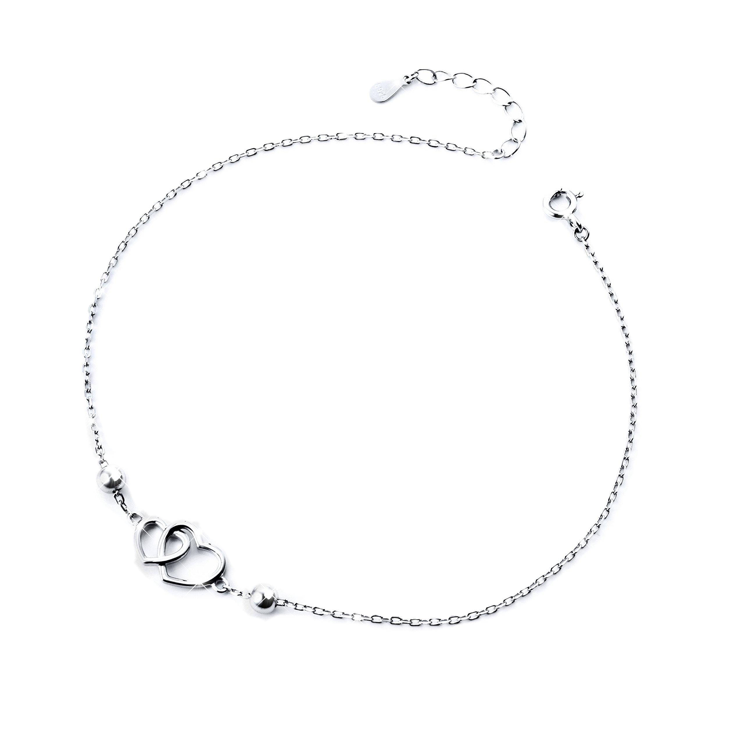 DAOCHONG Heart Anklet for Women S925 Sterling Silver Adjustable Foot Ankle Bracelet by DAOCHONG