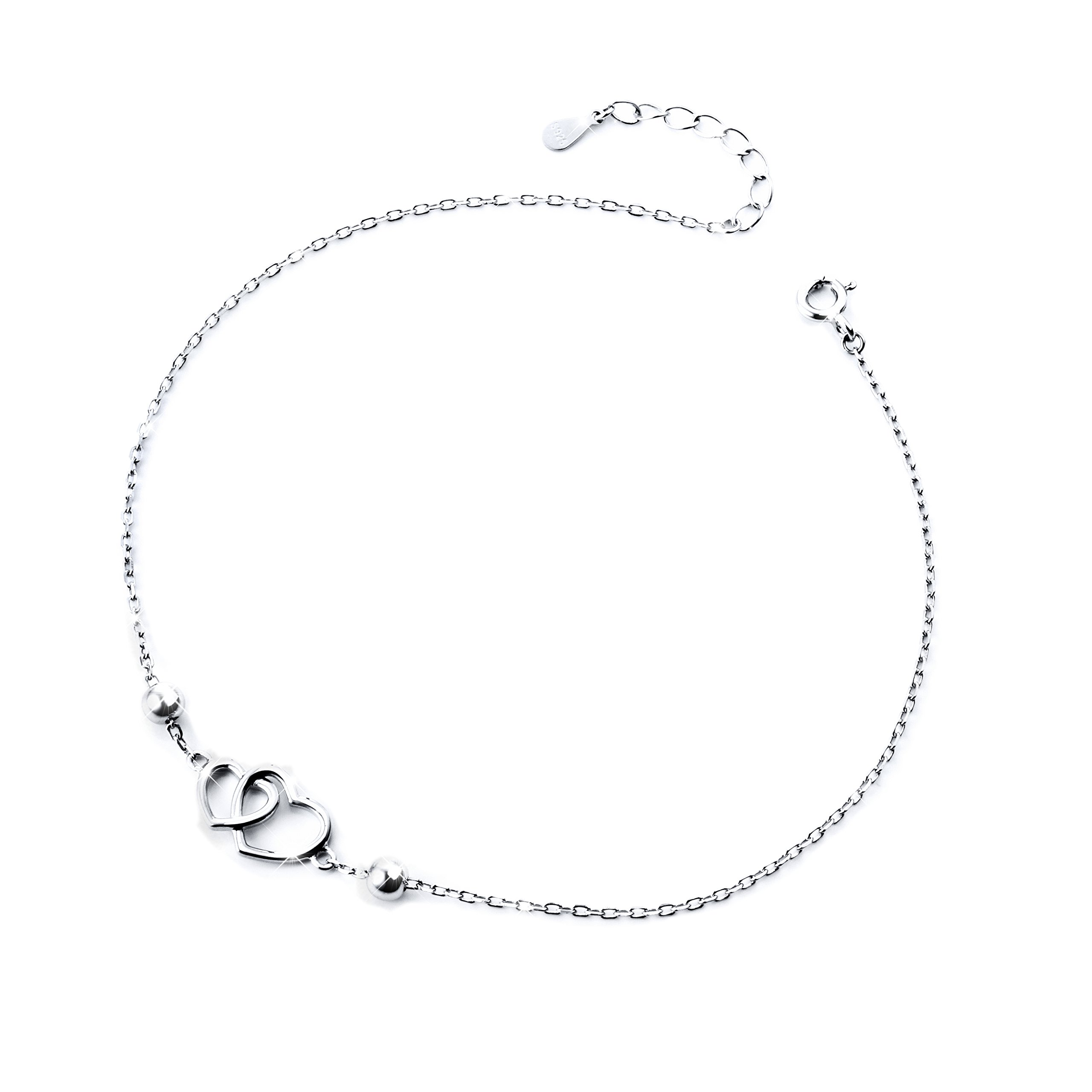 S925 Sterling Silver Anklet for Women Girl Adjustable Beach Style Foot Ankle Bracelet Jewelry (Heart 10 inch)
