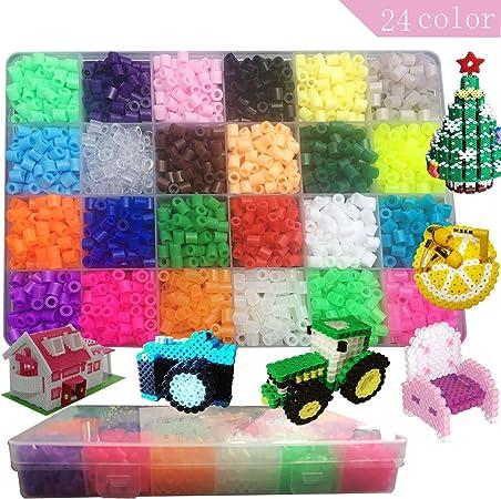 MOLYHUA Lote de 2400 pcs Abalorios Perler,de los Granos DIY de Perler Caja de fusibles Conjunto de Perlas de 5 mm Hama Beads, 24 Color (Brillar en Oscuridad): Amazon.es: Hogar