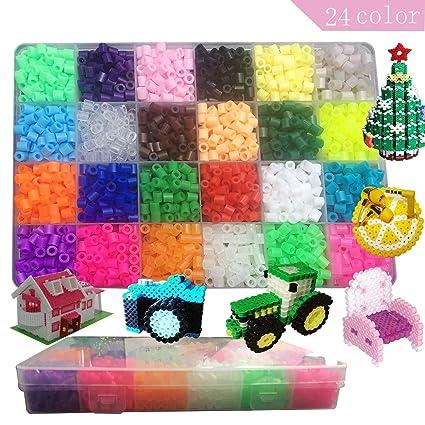 amazon com 3d perler beads kit 2400 pcs fuse bead set 24 colors