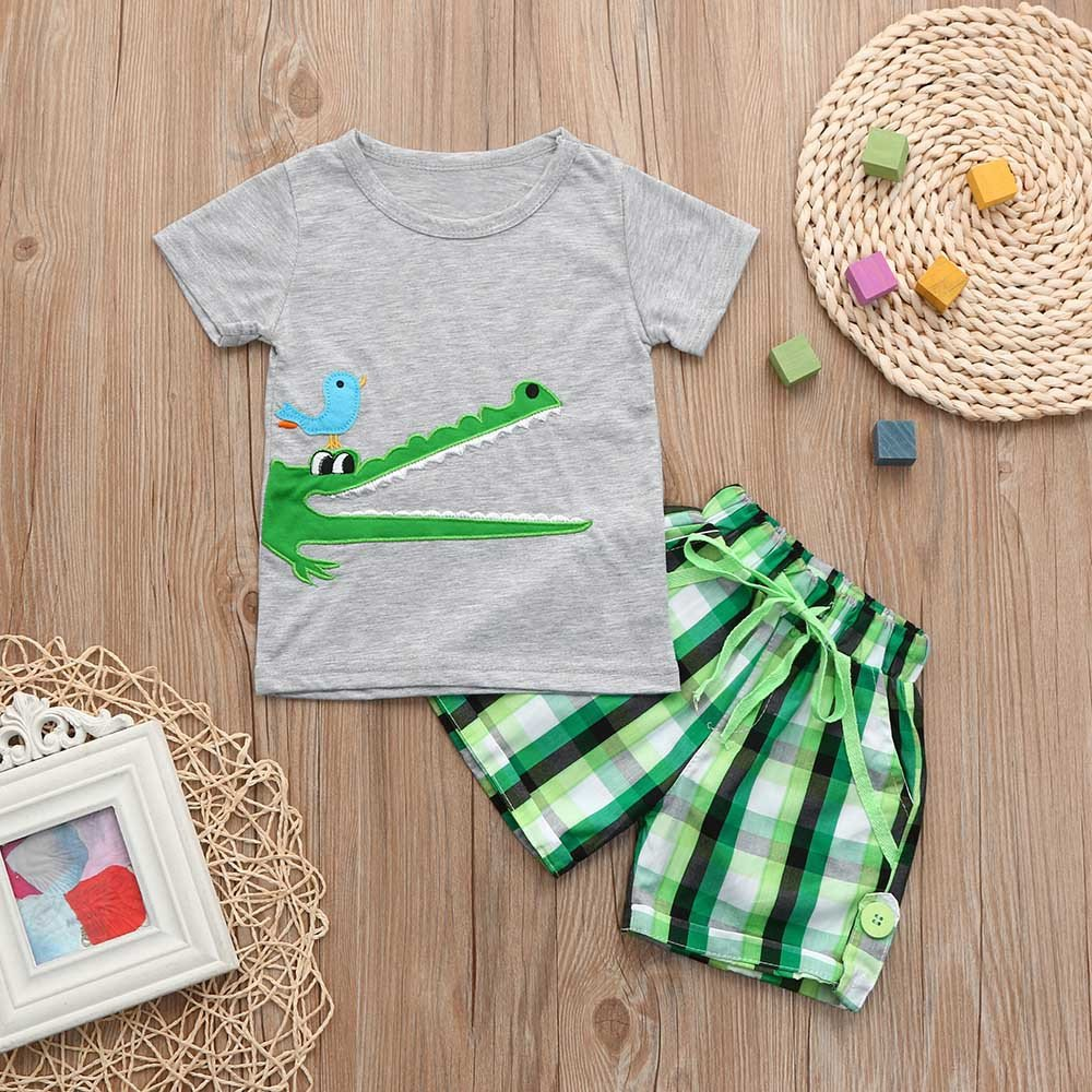 Shorts 2Pcs Summer Suit Outfits Fineser Toddler Baby Boys Embroidery Cartoon Print Short Sleeve T-Shirt