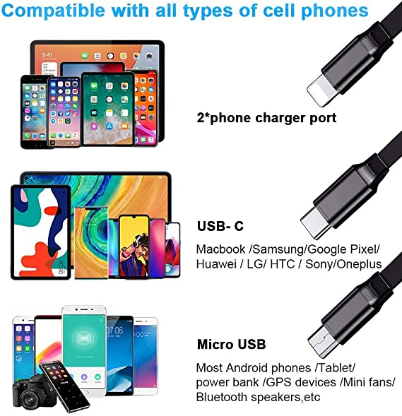 3 in 1 Retractable USB Charger Cable Cord Color Butterfly Owl On Night Sky Fast Charging Print Charger Cord Compatible with Cell Phones Tablets Universal Use