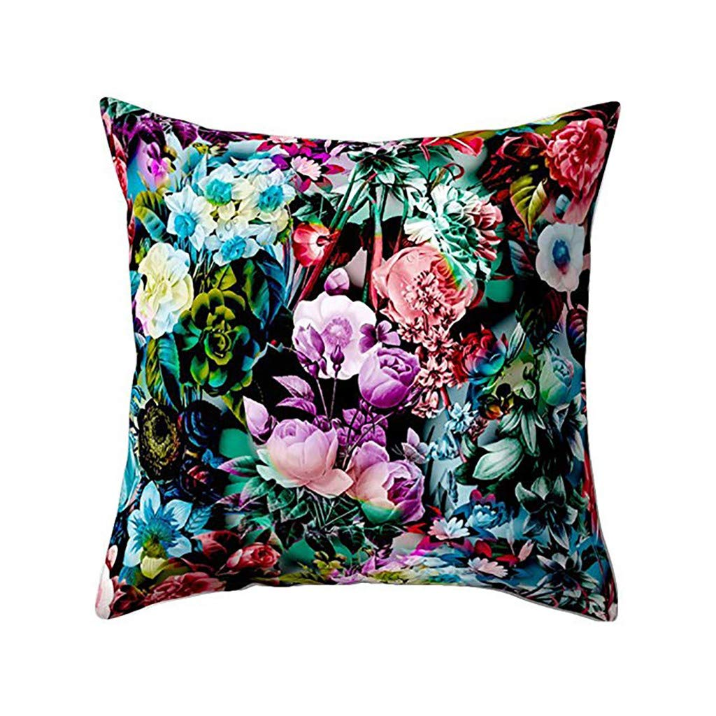 Clearance! Pillow Cases Floral Print Sofa Standard Size Square Throw Waist Cushion Covers For Car Sofa Bedroom Home Decor