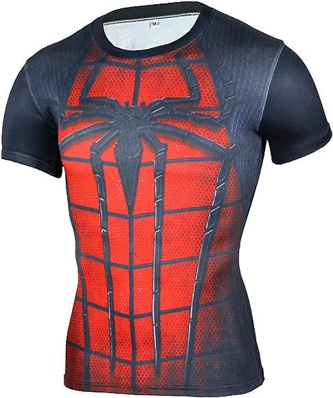 Camiseta Fitness Compresion Hombre con Dibujos de Superheroes para ...