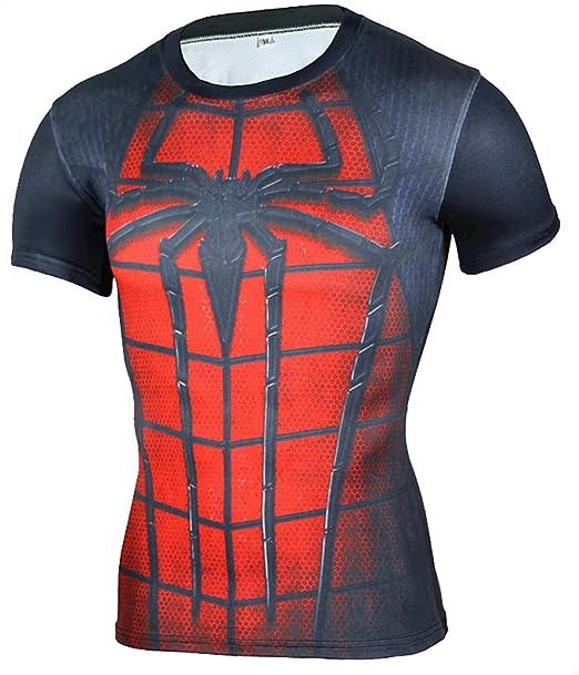 2a845b93bc9dd Camiseta Fitness Compresion Hombre con Dibujos de Superheroes para Entrenar  y Hacer Deporte. Licras (Spiderman)  Amazon.es  Ropa y accesorios