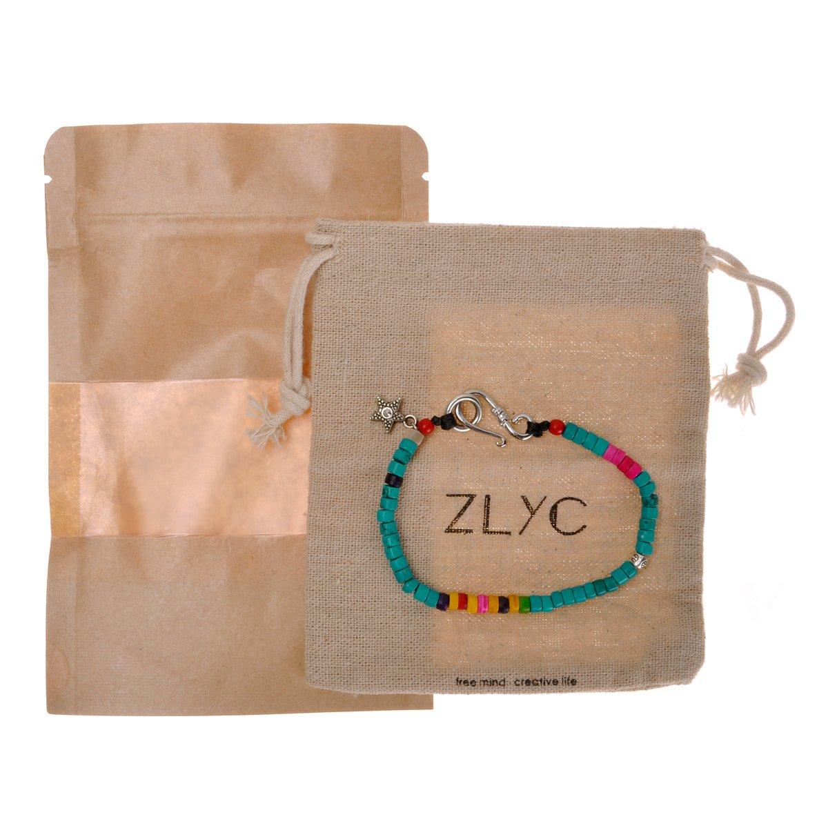ZLYC Women Handmade Multi-Tone Turquoise Bead Wrap Bracelet with Seastar Closure ZYJ-SL-038-TU