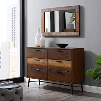 Modway Arwen Rustic Modern Wood 6-Drawer Bedroom Dresser In Walnut