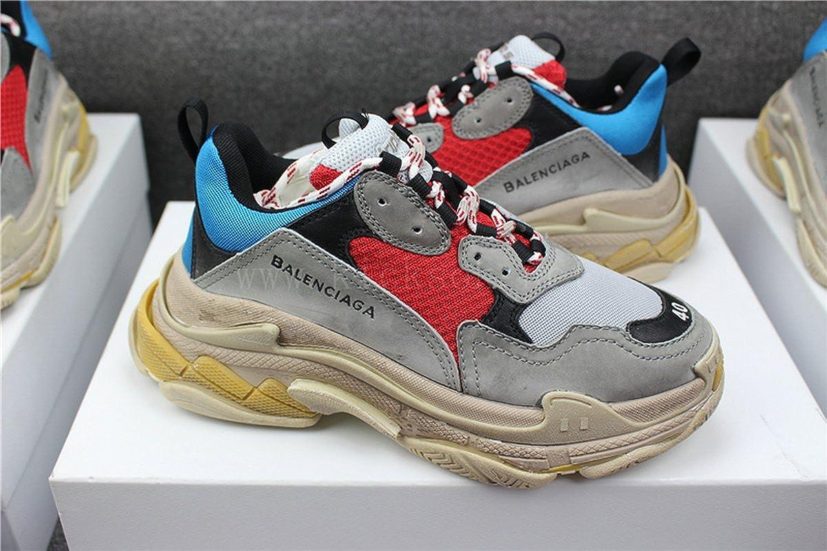 BestVIPP Unisex Balenciaga Sneakers Balenciaga Triple S Sneakers Grey Red Blue Yellow Hombre Mujer Zapatillas: Amazon.es: Zapatos y complementos