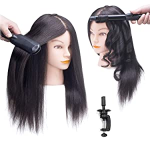 SOPHIRE 100% Real Hair Mannequin Head with Stand, Hairdressers' Practice Training Head and Cosmotology Doll Head for Hairstyling and Braid - Natural Black