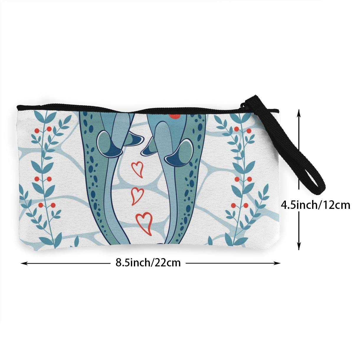 Maple Memories Valentines Day Whale Love Portable Canvas Coin Purse Change Purse Pouch Mini Wallet Gifts For Women Girls