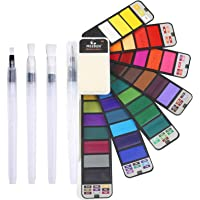 MEEDEN Watercolor Paint Set, 42 Assorted Colors Foldable Paint Set with 4 Brushes, Travel Pocket Watercolor Kit for…
