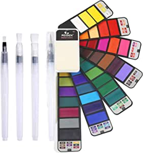 MEEDEN 42 Colours Artist Foldable Watercolour Paint Set with 4 Water Brushes for Field Sketch Outdoor Painting