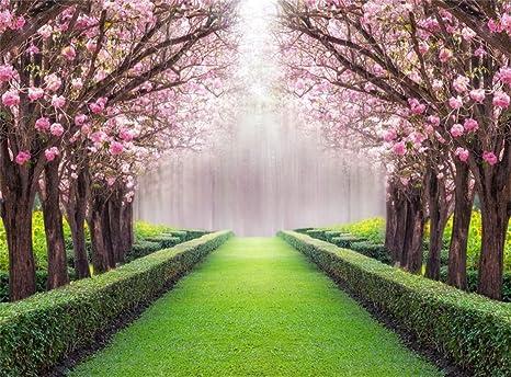 Leowefowa Vinyl 9x6ft Spring Backdrop Valentine S Day Cherry Blossom Green Grass Meadow Plants Countyard Nature Outdoor Wedding Photography Background