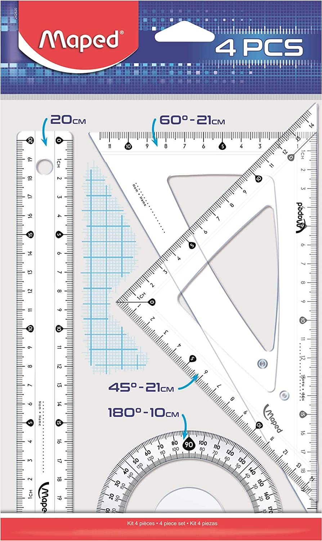 2 Squadre 21 Cm WIGO Disegno Start Kit Con Righello 20 Cm Goniometro 10 Cm In Bs