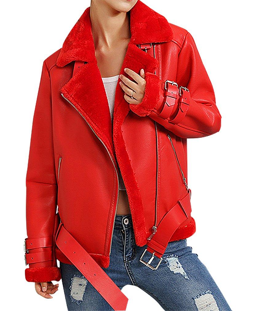 BLady Women's PU Leather Lamb Fur Lining Zip Up Adjustable Collar Moto Jacket, Red M,Manufacturer(XL)
