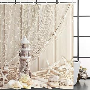 BLEUM CADE Nautical Shower Curtain Coastal Sea Shell Fishing Net Marine Ocean Beach Theme Bathroom Decor Lighthouse Starfish Bathroom Accessory with Hooks