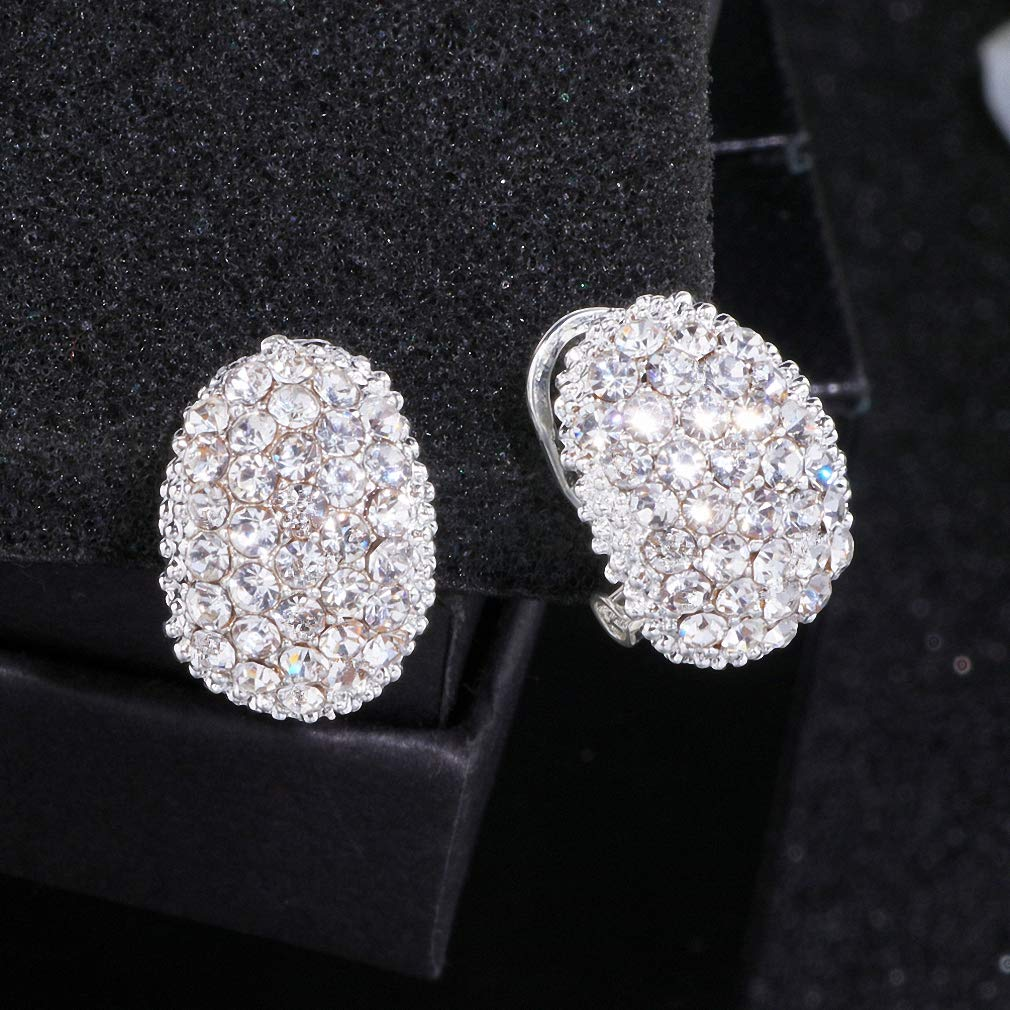 Womens Stud Earrings Classic Design Romantic Jewelry Silver Color Cubic Zirconia Stone Stud Earrings for Women Elegant Wedding Jewelry Wx023