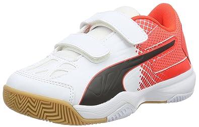 Puma Unisex-Kinder Evospeed Indoor 5.5 Jr Hallenschuhe, Rot (Red Blast-White-Black 01), 31 EU