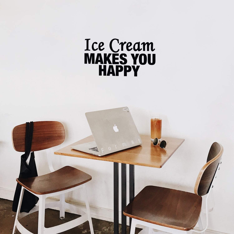 Printique Vinyl Wall Art Decal - Ice Cream Makes You Happy - 13.5