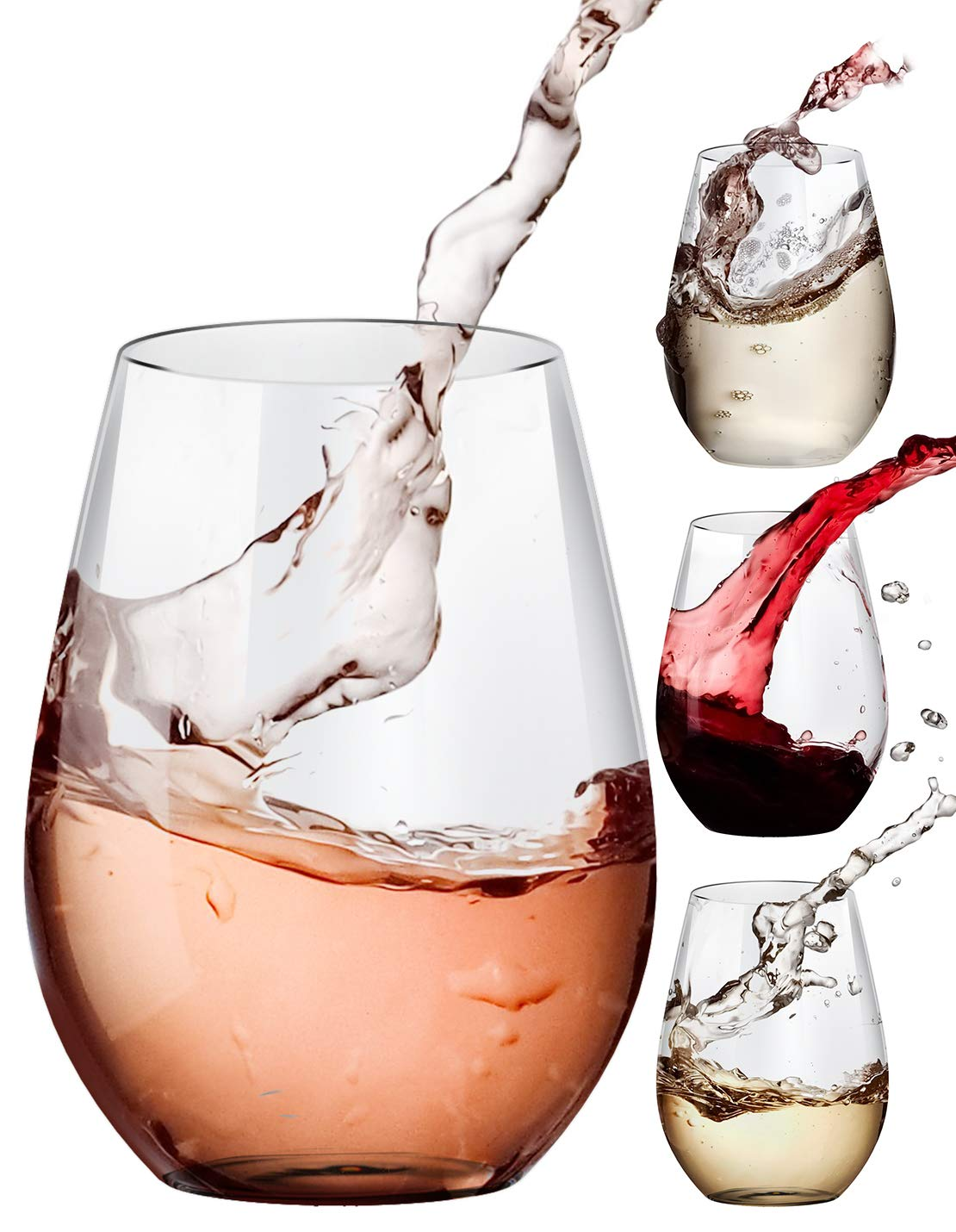 Stemless Wine Glasses, 20-oz Drinking Glasses, Set of 4, Ideal for Red and White Wine, Juice, Kitchen Glassware, Beach, Wedding and Party, Dishwasher-Safe by Amallino