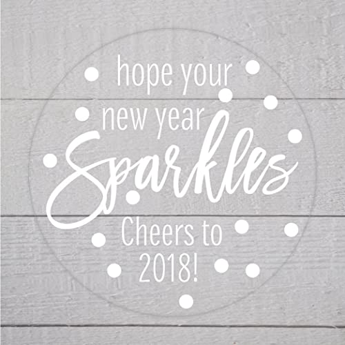 new year cheers to 2018 white on clear labels 614 c