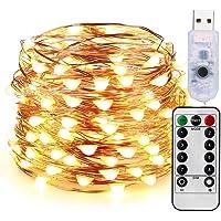 Guirnalda Luces LED Habitacion (USB) 10 Metros 100 LED con Control Remoto - Luces LED para Interior Exterior Decoración…
