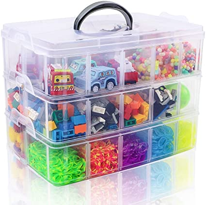 6 x 6 x 5 Inches Craft Organizer Box Beauty Supplies Art Supplies 3-Layer Stackable Craft Storage Organizer Case Plastic Craft Supplies Organizer with Adjustable Compartments for Accessories