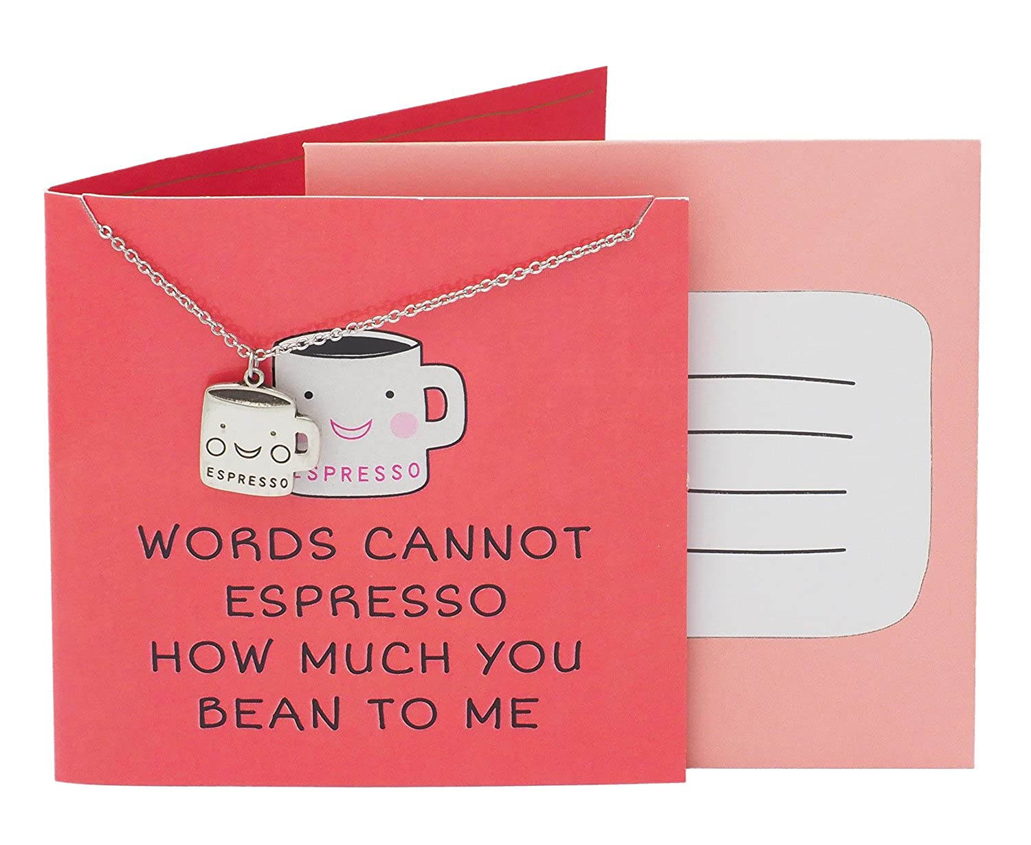 Quan Jewelry Coffee Cup Necklace Words Cannot Espresso How Much You Bean To Me Funny Pun Birthday Greeting Card Adjustable Stainless Steel Chain From 16