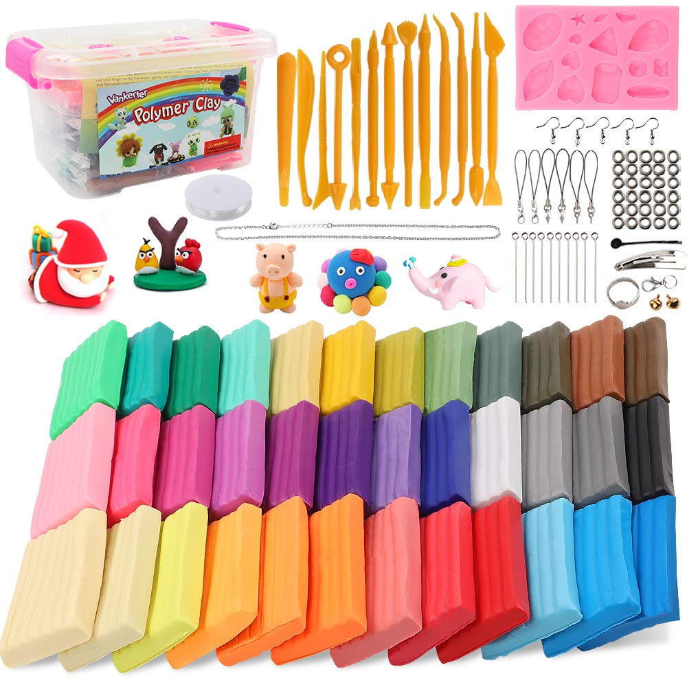 Vankerter 36 Colors Polymer Clay Christmas Kit Oven Bake Clay Modeling Clay with 13 Sculpting Tools and 11 Kinds of Accessories (About 0.7 Ounces per Pack)