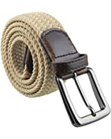 Moonsix Elastic Braided Belts for Men Women,PU Leather Stretch Web Belt Buckle